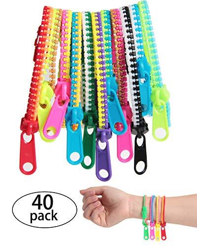 SBYURE 40Piece Friendship Fidget Zipper Bracelet Neon Colors Sensory Bracelet Bulk Set Party Toys for Students Kids Birthday, Goodie Bags, Small Prizes, ()