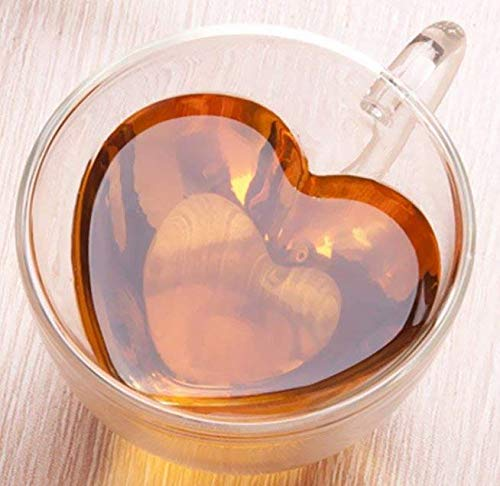 Set of 2 Pack Creative Heart Shape Design Double-Layer Transparent Drinking Glass Double Wall Cup (7 oz, 180 ml) for Coffee, Tea
