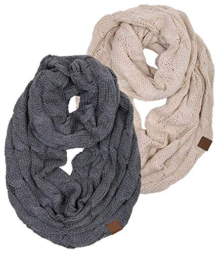 S1-6100-2-6066 Infinity Scarf Bundle - 1 Solid Beige, 1 Solid Mel Grey (2 Pack) by Funky Junque