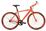 RapidCycle Evolve Fixed Gear Bike - Aluminum Bull horn (700CC, 53CM Frame, Orange Color)