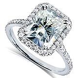 Radiant-cut Moissanite & Diamond Engagement Ring 3 Carat (ctw) in Platinum