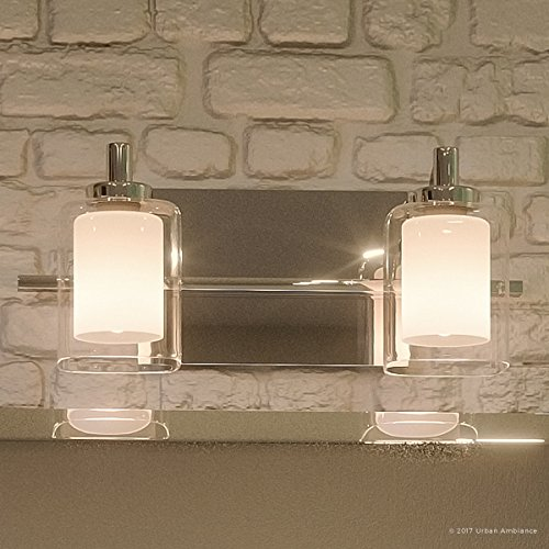 Luxury Modern Bathroom Vanity Light, Medium Size: 6''H x 13''W, with Posh Style Elements, Polished Chrome Finish and Sand Blasted Inner, Clear Outer Glass, G9 LED Technology, UQL2401 by Urban Ambiance by Urban Ambiance