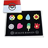 Pokemon Region Dojo Badges SET Indigo League Cosplay Pins Brooches Set of 8 Metal Buttons Fine Boxed (A)