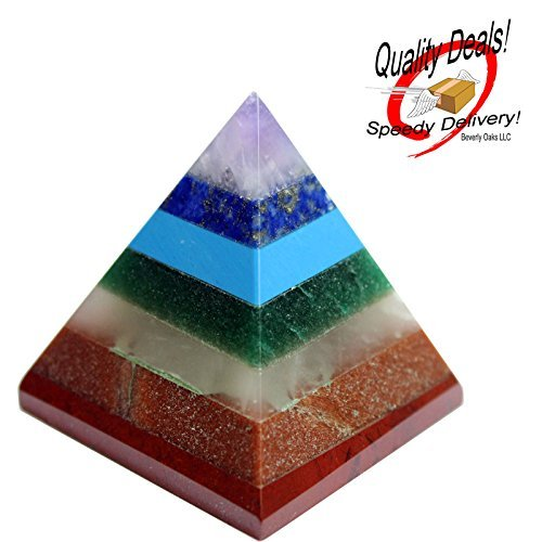 Beautiful Chakra Pyramid w/ 7 Chakra Stones ~ Red Jasper, Aventurine, Golden Quartz, Amethyst ~ 25-30mm Size