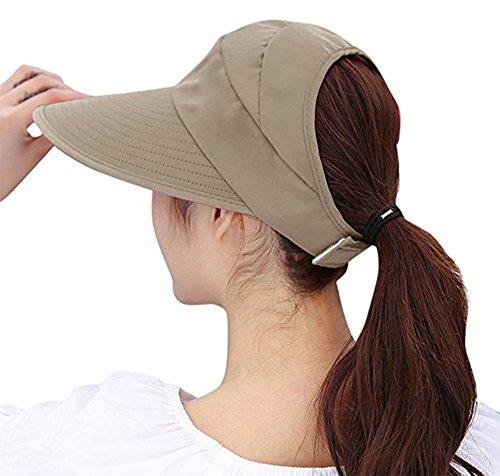 Women's Sun Hat, Summer Leisure UV Protective Visor Hat,Foldable Wide Brim Empty Top Sun Hat for Travel Beach - Khaki by Eastever (Image #1)