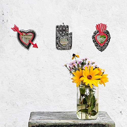 Buena Rustic Decor. Beautiful Sacred Heart Hamsa Cupid Heart Wall Hanging Art Decorations. Handmade in Mexico. Package of 3. Fiesta Mexican Party Decorations. Artesania Mexicana.