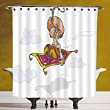 SCOCICI Stylish Shower Curtain 3.0 by [Arabian,Cartoon Magician Flying on Magic Carpet Sky with Clouds Oriental Persian Fairytale,Multicolor ] Fabric Bathroom Decor Set with Hooks