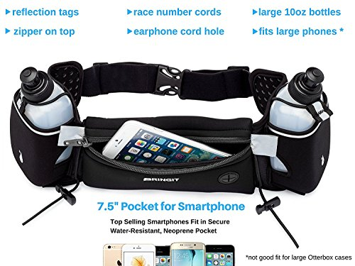 Running Accessories. Running Hydration Belt with Water Bottles (2x 10oz), Fuel Belt Fits Iphone 6s Plus for Running, Race, Marathon, Hiking, Adjustable Waist Hydration Pack, Men & Women Runners Belt. #running