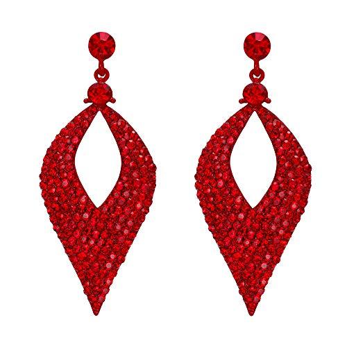 BriLove Bohemian Boho Dangle Earrings for Women Crystal Hollow Leaf Chandelier Earrings Ruby Color Red-Silver-tone