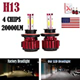 9008 bulb - 2Pcs H13 LED Headlight Bulbs Conversion Kit 9008 Car Headlamp 20000LM 6000K Cool White Hi Lo Double Beam DRL Fog Light Replacement - Plug and Play