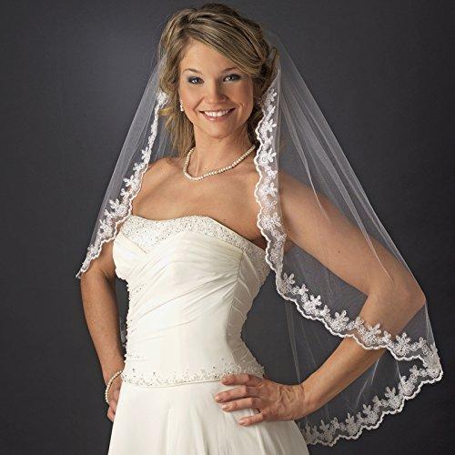 Amanda Single Layer Sequence and Bugle Beads Floral Edge Wedding Bridal Veil - Ivory