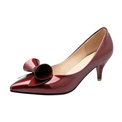 Damen süß Schleife Lackleder Kitten heel Niedrig Pumps (36, Rot) Mee Shoes