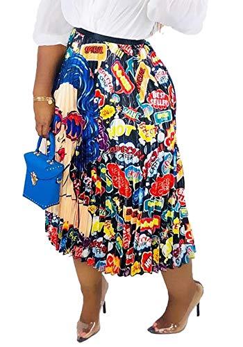 Tropical Print Skirt - Womens Color Block Graffiti Letter Print Cartton Pleated A Line Swing Maxi Midi Skirt Dress Cartoon2 S