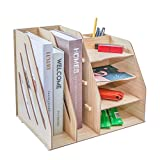 Multifunctional Organizer/Desk Organizer/Letter Tray Organizer/File Folder Organizer Tray/Pen Holder Organizer/4 Tray and Double Upright Sections