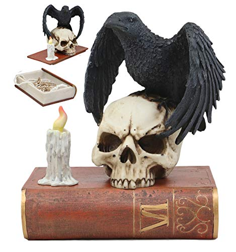 Ebros Edgar Allan Poe Harbinger of Doom and Prophecy Raven Crow Perching On Skull with Ancient Book Jewelry Box Statue 8.5