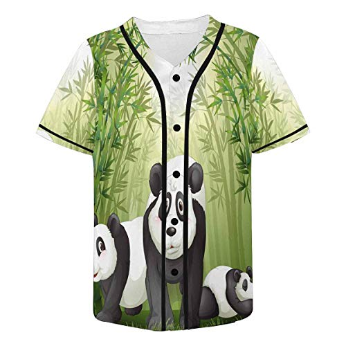 INTERESTPRINT Men's Pandas Baseball Jersey Button Down T Shirts Plain Short Sleeve 3XL