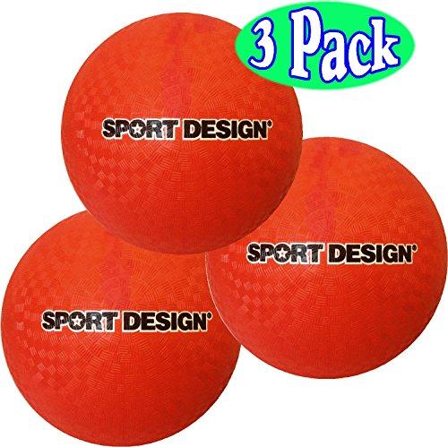 Sport Design 8.5 Inch Playground Balls (Red) Bulk Set Bundle - 3 Pack by Sport Design
