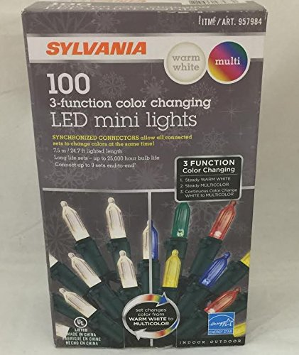 sylvania christmas lights 3 function color changing warm white multi color connectable led mini lights