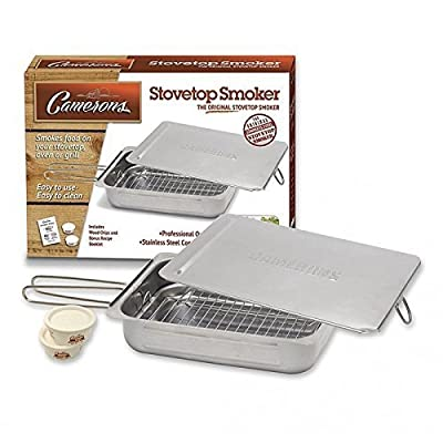 Stovetop Smoker - Stainless Steel Indoor Or Outdoor Smoker Works On Any Heat Source - with Recipe Guide and Wood Chips by Camerons Products by CM International