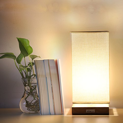 HAITRAL Table Lamp Bedside Desk Lamp with Fabric Shade Wood Base Night Light for Bedroom, Living Room, Baby Room, College Dorm by HAITRAL (Image #4)