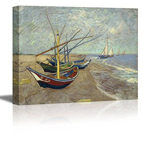"wall26 Fishing Boats on The Beach at Les Saintes-Maries-de-la-Mer by Vincent Van Gogh - Oil Painting Reproduction on Canvas Prints Wall Art, Ready to Hang - 32"" x 48"""
