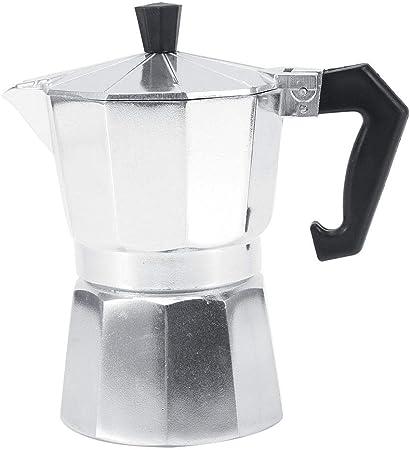 3/6/9/12 taza de cafetera italiana de moka en aluminio, disponible en cuatro tamaños para el hogar, la oficina, la comodidad y la elegancia(300ML 6cups)