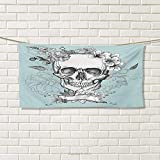 Chaneyhouse Grunge,Hand Towel,Skull and Flowers Day of The Dead Mexican Traditional Celebration Symbolic Art,Quick-Dry Towels,Turquoise White Size: W 20'' x L 20''