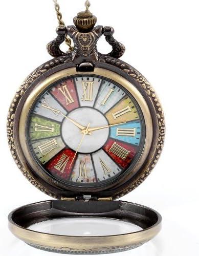 JewelryWe - Reloj de bolsillo estilo retro r rueda Roma Steampunk reloj de bolsillo colgante cadena de 30