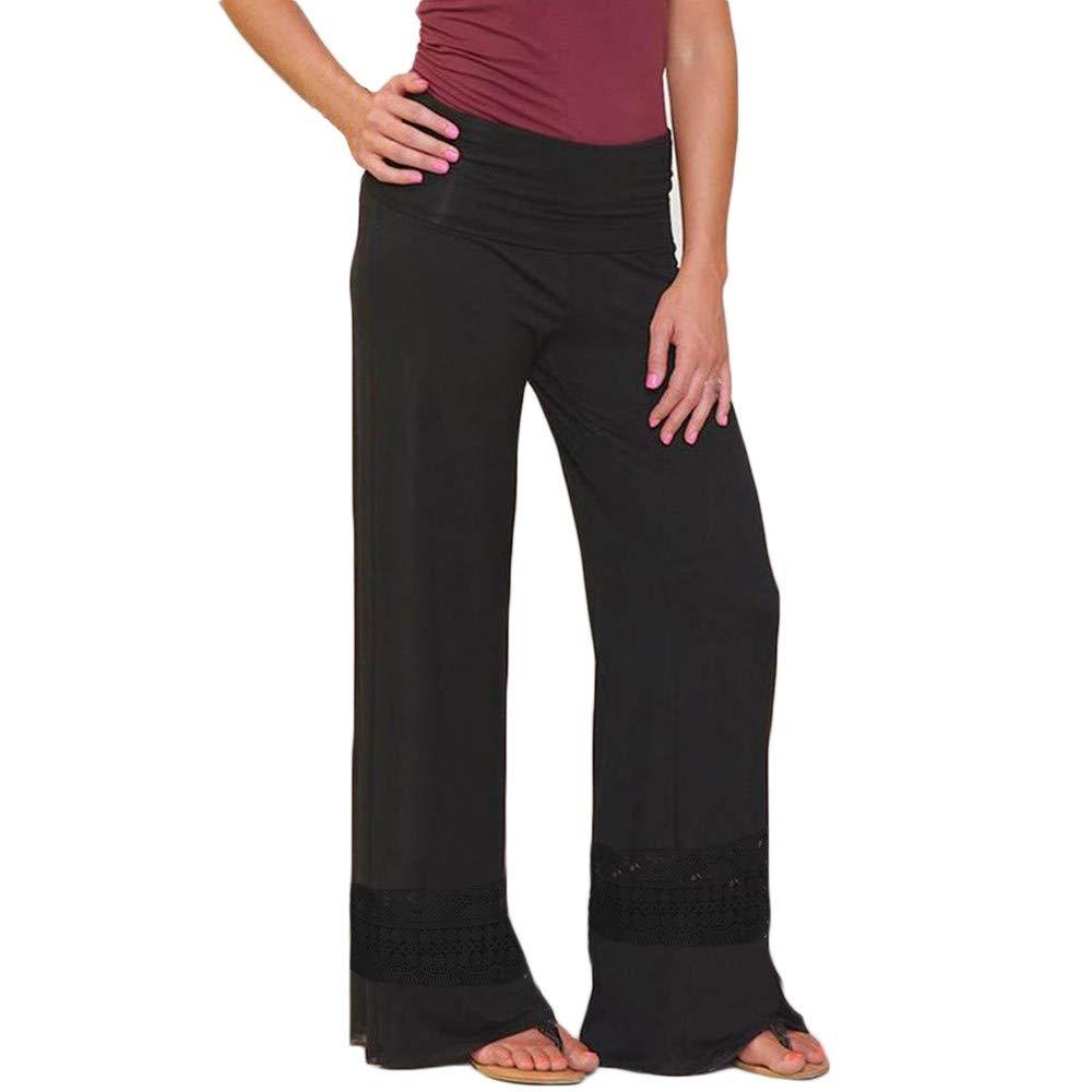 Farjing Pants Clearance Sale Women Fashion Casual Loose Lace Hollow High Waist Wide Legs Long Pants(M,Black