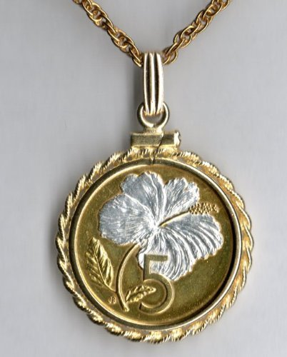 - Cook Islands White Hibiscus Gorgeously 2-Toned (Uniquely Hand done) Gold & Silver coin Necklaces for women men girls girlfriend boys teen girls