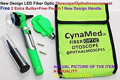 NEW CYNAMED USA FIBER OPTIC 3.2V Bright White LED OTOSCOPE SET includes DISPOSABLE SPECULA ADAPTOR and 3 sizes of reuseable specula plus 2 FREE REPLACEMENT BULBS-GREEN