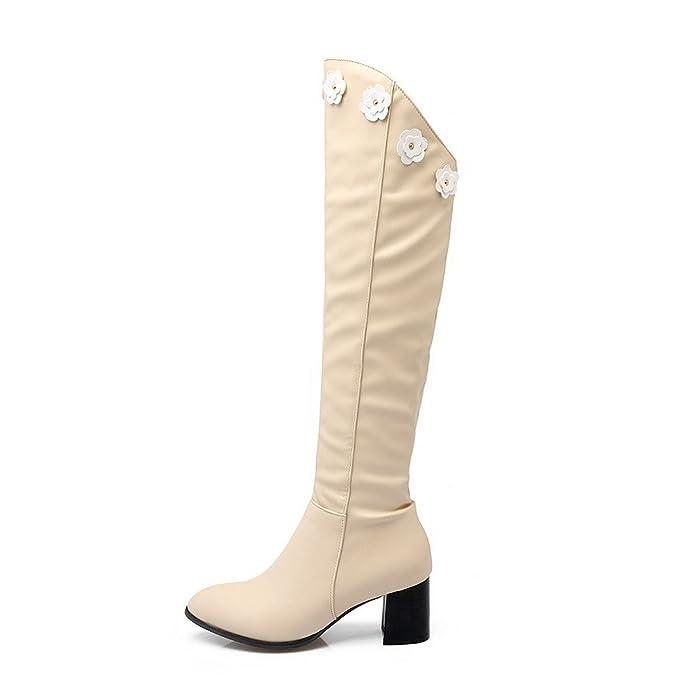 AgooLar Damen Rund Zehe PU Reißverschluss Mittler Absatz Stiefel, Cremefarben-Verzierung, 34