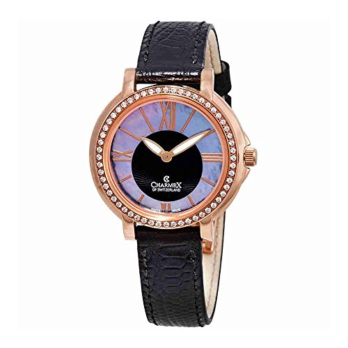 Charmex Malibu Crystal Black Dial Black Leather Ladies Watch 6417