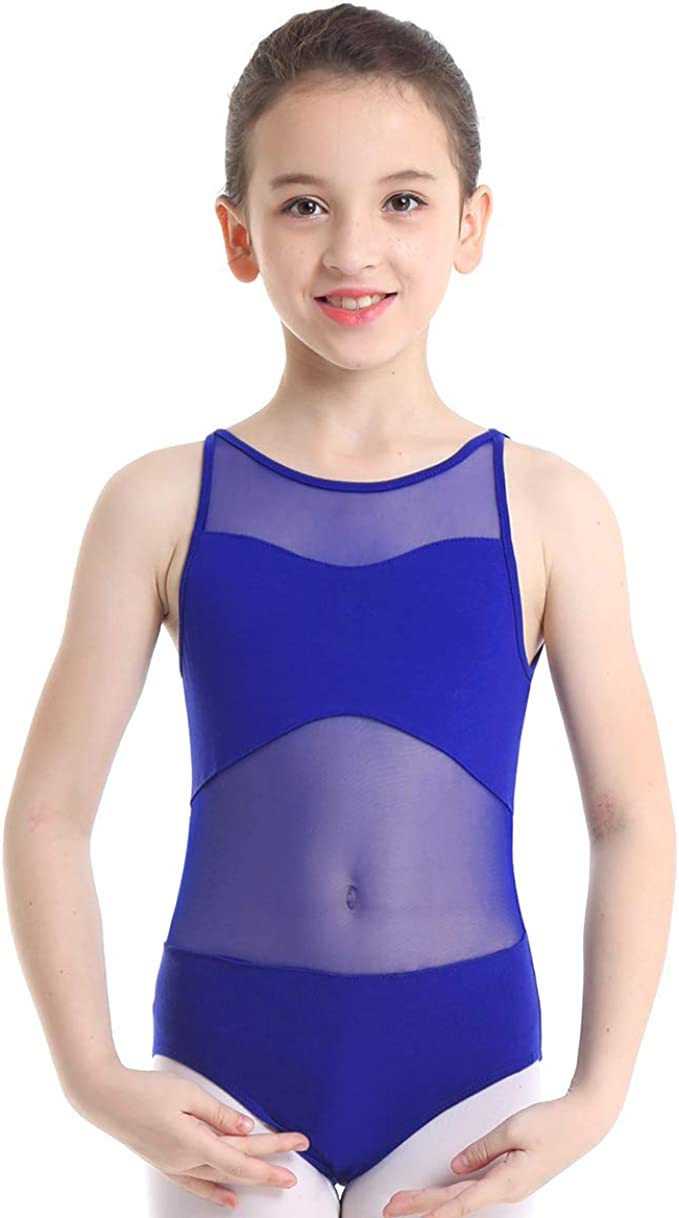 UK Girls Ballet Gymnastics Leotards Performance Mesh Splice Jumpsuits Costumes