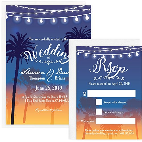 Custom - Beach Wedding Invitation Set - Set of 25, Personalized Wedding Invitation, Destination Wedding, Hawaiian Wedding (Invitation + RSVP + Envelope)
