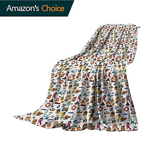 Pirates Warm Blanket,Parrot Corsair Anchor Skeleton and Treasure Pattern in Cartoon Style Kids Adventure for Bed & Couch Sofa Easy Care,35