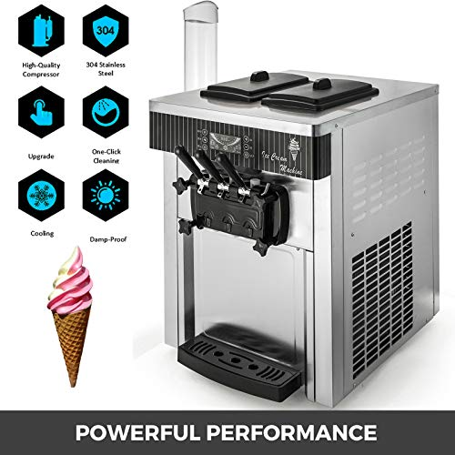 VEVOR 2200W Commercial Soft Ice Cream Machine 3 Flavors 5.3-7.4Gallons/H Auto Clean LED Panel Perfect for Restaurants Snack Bar supermarkets, 2200W, Sliver/Desktop by VEVOR (Image #2)