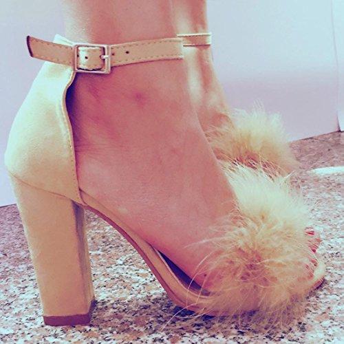 hunpta Womens Ladies Block High Heel Sandals Ankle Tie Up Artificial Fur Strappy Platforms Shoes Beige weQAS1Lb3