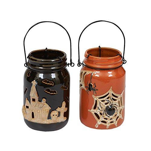 DII Halloween Jar Lantern Tea Light Holder with
