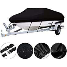 Waterproof V-hull Boat Cover - Heavy Duty 600D Polyester Oxford Trailerable Bass Boat Cover w/ Carrying Bag & Tie Down Straps System, Stay Secure & All Weather Protection Outdoor - 5-YEAR WARRANTY