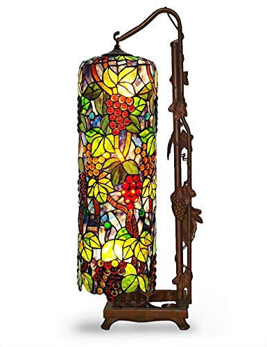 Floor Lamps, Magcolor Tiffany Style Stained Glass Raisin Grape Floor Lamp with 33 inches Handmade Lampshade, Long Cylinder Table Lamp, Floor Lamps Suitable for Decorating Room