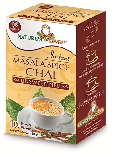 Natures Guru Masala Spice Chai Unsweetened Drink Mix - Pack Of 8