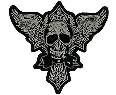 Gothic Skull & Cross Patch 3.5 inch IVANP5106 (Funny Gargoyles)