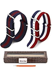 2PC 20mm Nato Ss Nylon Striped Navy Blue/Red,Red/White/Blue Interchangeable Replacement Watch Strap Band