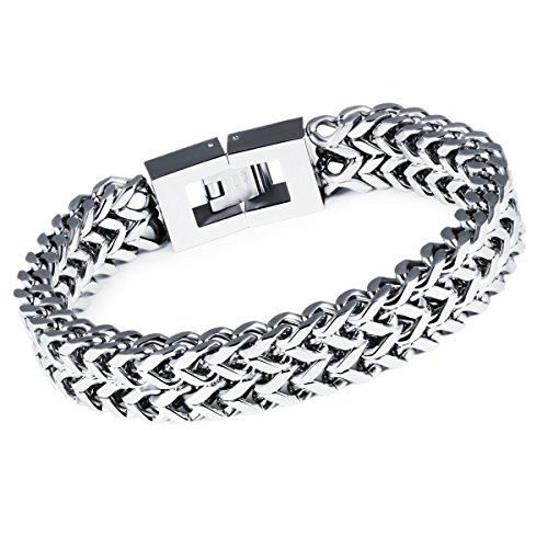 Lary Jewelry Men's Stainless Steel 12MM Two-strand Wheat Chain Bracelet Masculine Bracelet,8.26 (Special Franco Chain)