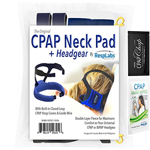 RespLabs Original CPAP Headgear Replacement + Fleece Fabric Neck Pad with Built in Strap Cover Comfort Pads. For Full Face or Nasal Masks + Sample Wipe & CPAP Chap