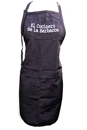 "Black Embroidered Apron ""El Cocinero De La Barbacoa"""