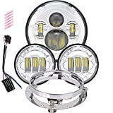 harley ultra accessories - 7 inch LED Headlight 4.5 Fog Passing Lights DOT Kit Set Ring Motorcycle Headlamp for Harley Davidson Touring Road King Ultra Classic Electra Street Glide Tri Cvo Heritage Softail Deluxe Fatboy Black