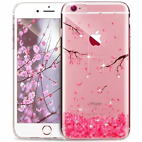 PHEZEN iPhone 8 Plus Case,iPhone 7 Plus Case, Luxury Bling Diamond Crystal Clear Soft TPU Silicone Back Cover Anti-Scratch Bumper with Cute Pattern for iPhone 7 Plus, Sakura Cherry Blossom - Tpu Diamond Pattern