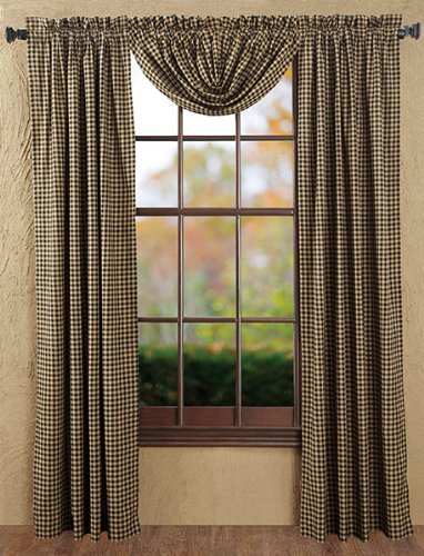 VHC Brands 5957  Black Check Balloon Valance Lined 60x15